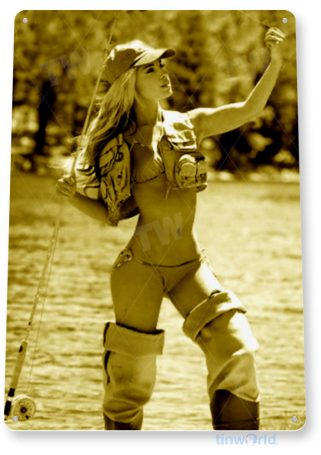 tin sign b698 stolen bait pin-up fishing girl fish garage marina cave tinworld tinsign_com