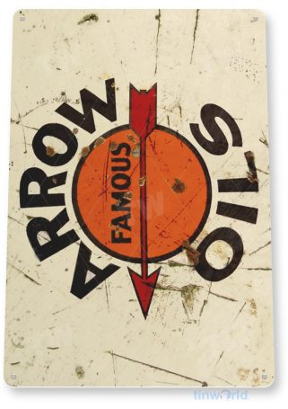tin sign b701 arrow oil retro rustic gas station sign garage auto shop cave tinworld tinsign_com