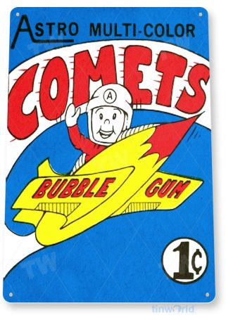 tin sign b702 astro comets bubble gum retro chewing gum store sign candy kitchen cottage tinworld tinsign_com