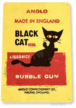 tin sign b705 black cat bubble gum retro chewing gum store sign candy kitchen cottage tinworld tinsign_com