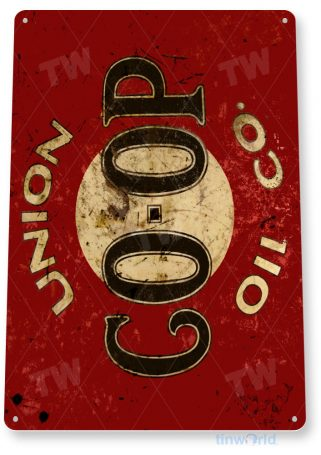 tin sign b710 co-op union oil retro rustic oil gas station sign garage auto shop cave tinworld tinsign_com