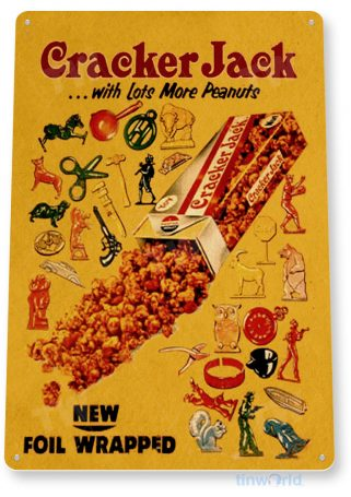 tin sign b712 cracker jack retro store sign kitchen cottage cave candy tinworld tinsign_com