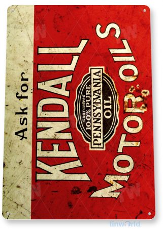 tin sign b725 kendall motor oil retro rustic oil gas station sign garage auto shop cave tinworld tinsign_com