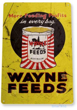 tin sign b745 wayne feeds rustic livestock farm store sign barn cottage cabin ranch tinworld tinsign_com