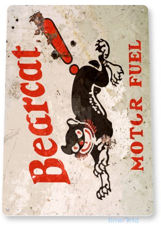 tin sign b754 bearcat motor fuel retro rustic oil gas station sign garage auto shop cave tinworld tinsign_com