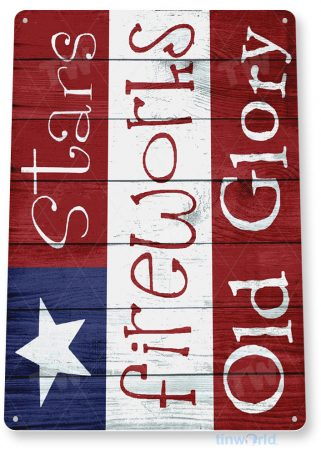 tin sign b764 fireworks old glory rustic patriotic independence 4th july flag sign cottage cave tinworld tinsign_com