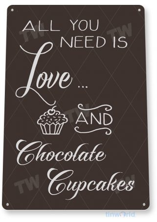 tin sign b779 love and chocolate cupcakes chalk sign kitchen cottage farm bakery tinworld tinsign_com