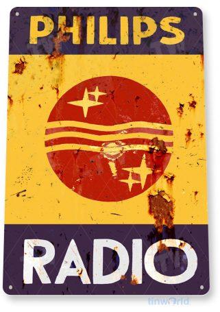 tin sign b793 philips radio rustic retro garage shop radio sign cottage cave tinworld tinsign_com