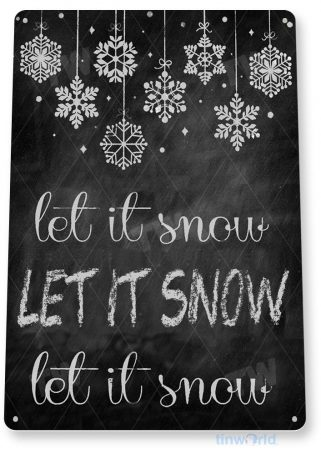 tin sign b833 let it snow christmas art holiday chalk sign cottage cabin cave tinworld tinsign_com