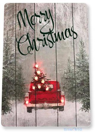 tin sign b837 merry christmas rustic holiday truck art christmas decoration cottage farm tinworld tinsign_com