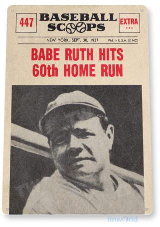 tin sign b852 babe ruth 60th historic baseball news photo sports shop bar cave tinworld tinsign_com
