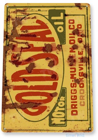 tin sign b876 gold seal motor oil retro rustic oil gas station sign garage auto shop cave tinworld tinsign_com