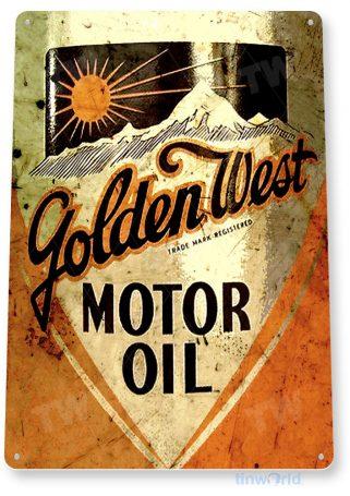 tin sign b877 golden west motor oil retro rustic oil gas station sign garage auto shop cave tinworld tinsign_com