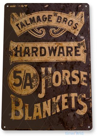tin sign b882 horse blankets farm ranch barn stall cottage cabin store sign tinworld tinsign_com
