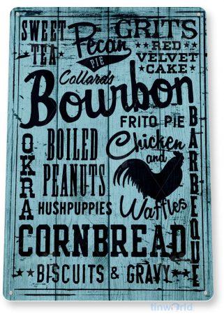 tin sign b888 kitchen bourbon blue rustic kitchen cottage cabin farm lake beach house cave tinworld tinsign_com