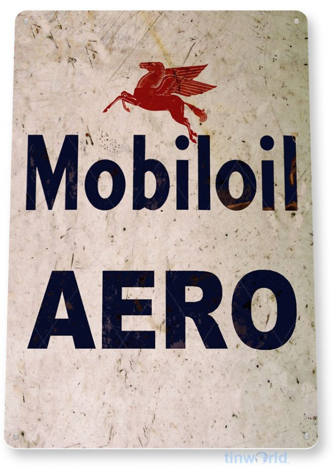 tin sign b891 mobiloil aero retro rustic oil gas station sign garage auto shop hangar cave tinworld tinsign_com