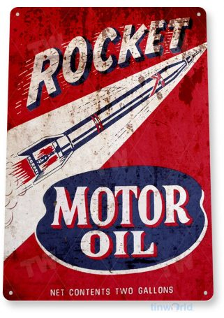 tin sign b902 rocket motor oil retro rustic oil gas station sign garage auto shop cave tinworld tinsign_com
