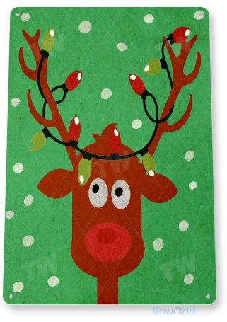 tin sign b904 rudolph holiday christmas art decoration cottage cabin farm tinworld tinsign_com