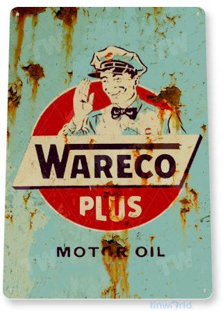 tin sign b915 wareco motor oil retro rustic oil gas station sign garage auto shop cave tinworld tinsign_com