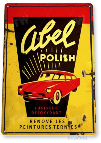 tin sign b916 abel car polish rustic auto shop store sign garage car wash tinworld tinsign_com