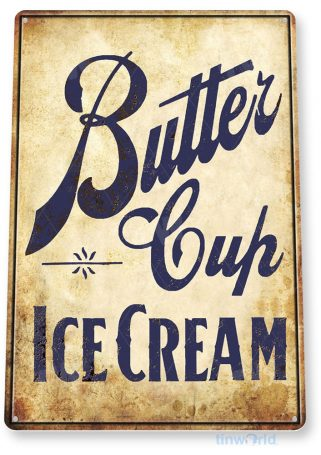 tin sign b919 butter cup rustic retro ice cream parlor sign kitchen cottage tinworld tinsign_com