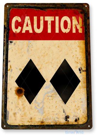 tin sign b920 caution double diamond ski slopes lift lodge rresort expert warning sign tinworld tinsign_com