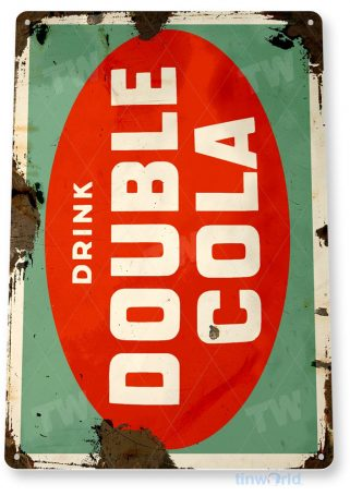 tin sign b923 double cola retro rustic soda store sign kitchen cottage cave tinworld tinsign_com