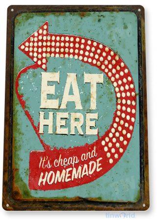 tin sign b926 eat here retro rustic diner restaurant bar pub kitchen cottage sign tinworld tinsign_com