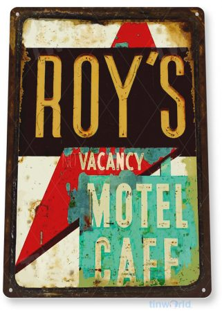 tin sign b938 roy's motel cafe retro rustic diner restaurant sign cottage cave tinworld tinsign_com