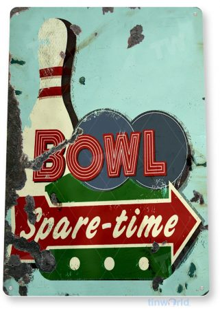 tin sign b941 spare time bowl rustic retro bowling alley sign ball pin tinworld tinsign_com