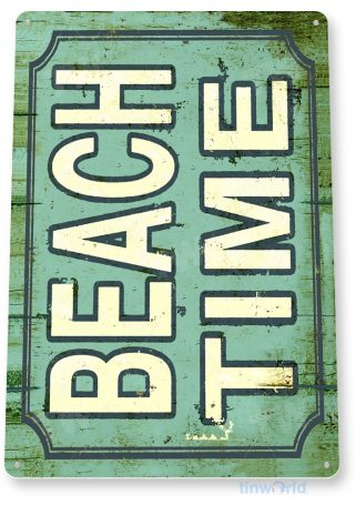 tin sign b954 beach time rustic lake beach house cottage cabin cave tinworld tinsign_com