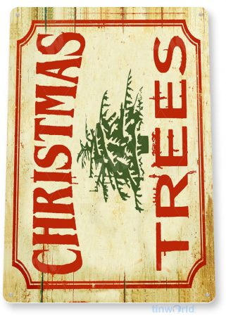 tin sign b963 christmas trees rustic holiday christmas decoration cottage cabin farm tinworld tinsign_com