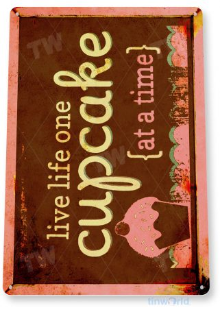 tin sign b975 cup cakes strawberry chocolate rustic kitchen bakery cottage cafe sign tinworld tinsign_com