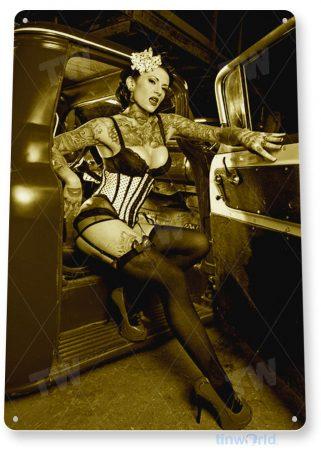 tin sign b980 dismount hot rod pin-up girl auto shop garage cave tinworld tinsign_com