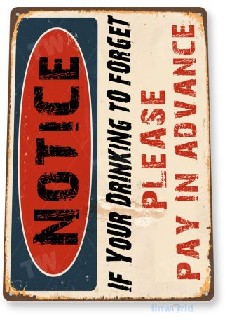tin sign b982 drink to forget rustic retro bar pub beer brewery sign cottage cave tinworld tinsign_com