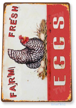 tin sign b983 eggs farm fresh rustic farm eggs sign chicken cottage coop cave tinworld tinsign_com