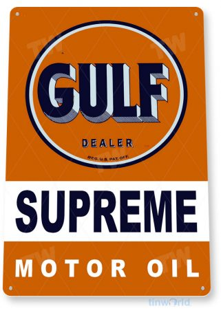 tin sign b996 gulf motor oil retro rustic oil gas station sign garage auto shop cave tinworld tinsign_com