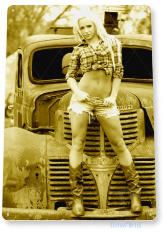 tin sign b999 front grill hot rod pin-up girl cowgirl auto shop garage cave tinworld tinsign_com