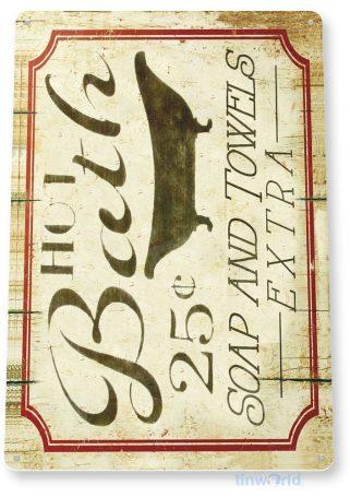 tin sign c005 hot bath rustic kitchen cottage cabin farm lake beach house cave tinworld tinsign_com