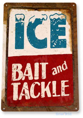 tin sign c010 ice bait tackle fish fishing marina beach lake house cottage cabin tinworld tinsign_com