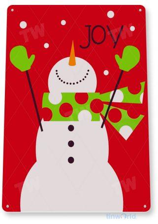 tin sign c012 joy snowman rustic holiday christmas decoration cottage cabin farm tinworld tinsign_com