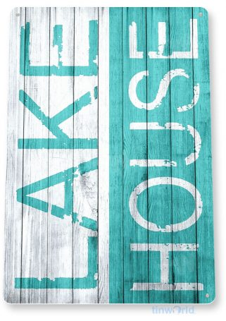 tin sign c016 lake house rustic lake beach house cottage cabin cave blue tinworld tinsign_com