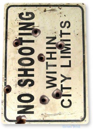 tin sign c032 no shooting city limits gun range cave rustic tinworld tinsign_com