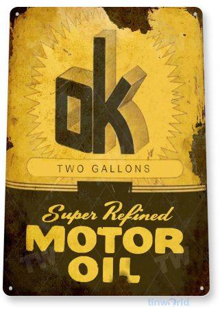 tin sign c038 ok motor oil retro rustic oil gas station sign garage auto shop cave tinworld tinsign_com