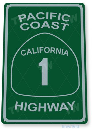 tin sign c039 pacific coast highway street sign rustic lake beach house cottage cabin cave tinworld tinsign_com
