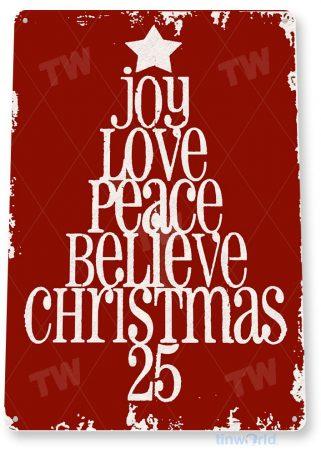 tin sign c041 peace love joy holiday christmas tree decoration cottage cabin farm red tinworld tinsign_com
