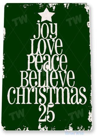 tin sign c042 peace love joy holiday christmas tree decoration cottage cabin farm green tinworld tinsign_com