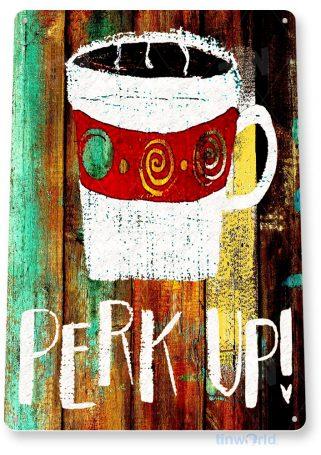 tin sign c044 perk coffee rustic retro coffee shop sign kitchen cottage cafe farm tinworld tinsign_com