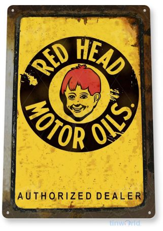 tin sign c048 red head motor oil retro rustic oil gas station sign garage auto shop cave tinworld tinsign_com