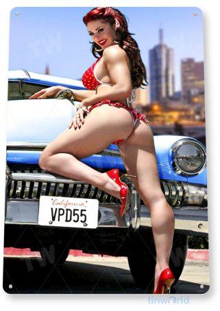 tin sign c049 road block hot rod pin-up girl auto shop garage cave tinworld tinsign_com